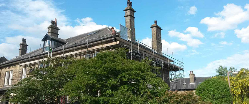 Image of scaffolding for roofing repair work