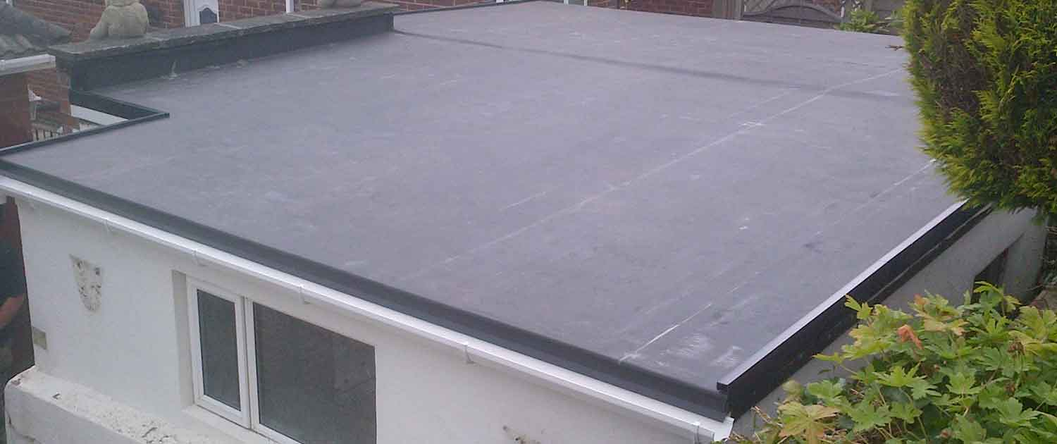 image of rubber flat roofing installation services on porch roof